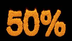 50 percent written with burning fonts with effect Stock Footage