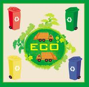 Stock Illustration of Colorful recycle bins ecology concept with landscape and garbage