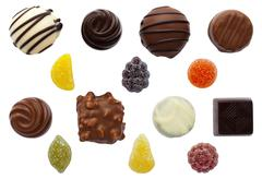 Sweets Mixed Chocolate and Fruit Pastilles - stock photo