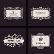 Label vector frames elegant border set. Vintage banner design - stock illustration