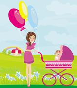Stock Illustration of beautiful girl pushing a stroller with her daughter