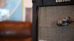 Guitar amp mic'd & mixer Stock Footage