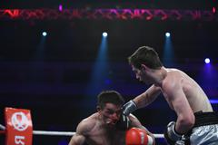 Ranking boxing fight in Palace of sport, Kiev - stock photo