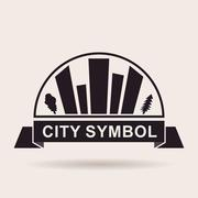 City logo buildings. Silhouette Vector icon - stock illustration