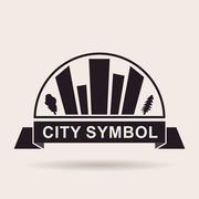 City logo buildings. Silhouette Vector icon Stock Illustration