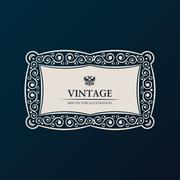 Label vector frame. Vintage banner decor Stock Illustration
