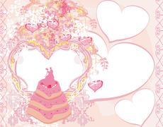 Wedding cake card design Stock Illustration