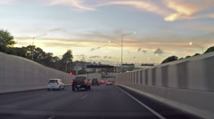 Auckland Evening Motorway Traffic Stock Footage