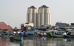 Jakarta harbor Old canal, Indonesia Stock Photos