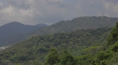 Aerial of big buddha to beaches from Karon viewpoint Stock Footage