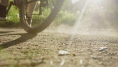 Special brake on a bicycle. Close up Stock Footage