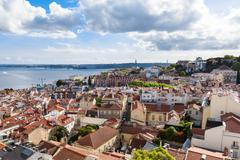 Lisbon rooftop from Sao Vicente de Fora church viewpoint  in Portugal Stock Photos