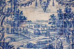 Traditional tiles azulejos Lisbon, Portugal - stock photo