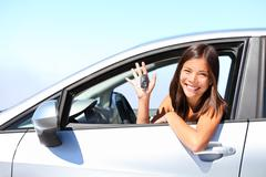 Car driver woman - girl driving new car showing car keys - stock photo