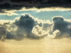 Sky with black clouds - stock illustration