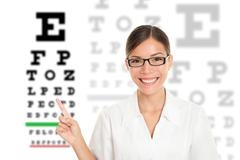 Optician / Optometrist pointing at Snellen eye exam chart Stock Photos