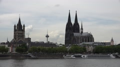 ULTRA HD 4K Medieval cathedral old church tower Koln landmark tourism attraction Stock Footage
