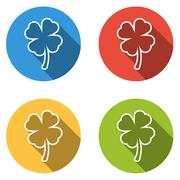 Collection of 4 isolated flat buttons (icons) for four leaf (shamrock) - stock illustration