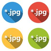 Collection of 4 isolated flat buttons for jpg extension Stock Illustration
