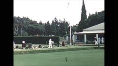 Vintage 16mm film, 1961, Salisbury Rhodesia lawn bowling, slow pan Stock Footage