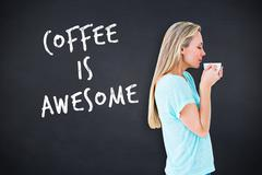 Stock Illustration of Composite image of pretty blonde standing and holding hot beverage