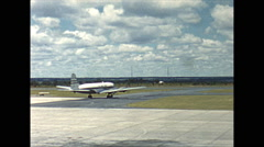 Vintage 16mm film, Salisbury Rhodesia airport CAA Vickers Viscount taxing 1961 Stock Footage