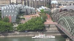 ULTRA HD 4K Aerial view Koln main train station famous bridge landmark museum  Stock Footage
