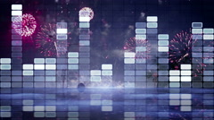 equalizer and firework loopable animation 4k (4096x2304) - stock footage