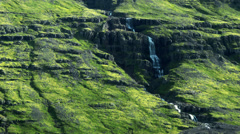 Single Waterfall Runoff ICELAND - CIRCA AUGUST, 2014 Stock Footage