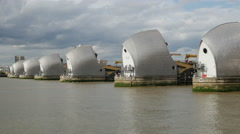 Thames Barrier, River Thames, Woolwich, London Stock Footage