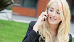 Business businesswoman Caucasian financial advisor wireless smart phone device Stock Footage