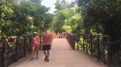 Joggers & Bicyclist on Austin Bridge Stock Footage
