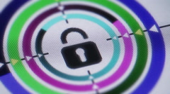 Press lock button on the screen Stock Footage