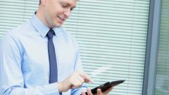 business businessman Caucasian financial advisor trader wireless tablet device - stock footage