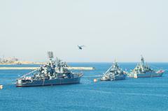 Parade military marine sea fleet of Russia Stock Photos