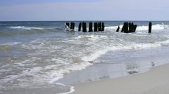 Groins in the Baltic Sea with break-water Stock Footage