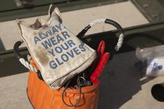 Always Wear Your Gloves Electricians Work Bag and Tools. Stock Photos