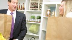 healthy lifestyle eating Caucasian business couple organic market fresh fruit - stock footage
