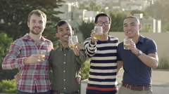Gay Couples Say Cheers And Hold Up Their Drinks To Camera Stock Footage
