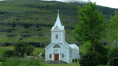 Blue Church SEYDISFJORDUR, ICELAND - CIRCA AUGUST, 2014 Stock Footage