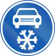 Winter Tires Mandatory In The Czech Republic - stock illustration