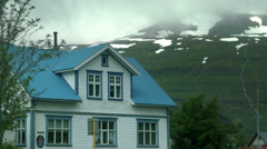 House in Seyðisfjörður in ICELAND - CIRCA AUGUST, 2014 Stock Footage