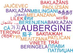 Aubergine multilanguage wordcloud background concept - stock illustration