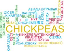 Chickpeas multilanguage wordcloud background concept Stock Illustration