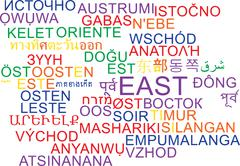 Stock Illustration of East multilanguage wordcloud background concept