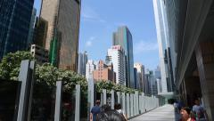 Modern high-rise buildings in Wan Chai District, Hong Kong - stock footage