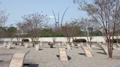 Pentagon 911 Memorial fountain park 4K 019 Stock Footage