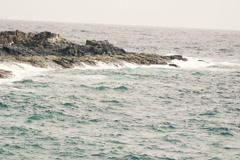 Swell sea with waves and rocks, slow motion shot at 240fps NTSC Stock Footage