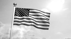 Stock Video Footage of USA US American Flag Waving Against Blue Sky old cine film celluloid sepia