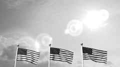 Stock Video Footage of USA US 3 American Flags Waving Against Blue Sky old cine film celluloid sepia